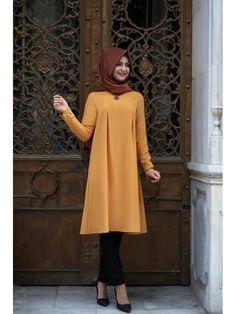 Pınar Şemş Önü Taşlı Tunik Hardal High Neck Dress, Dresses With Sleeves, Long Sleeve, Fashion, Gowns With Sleeves, Moda, Sleeve Dresses, Long Dress Patterns, Fasion