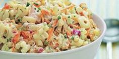 Picnic-Perfect Tuna-and-Macaroni Salad by All You. This colorful macaroni salad with tuna features grated carrot, chopped celery and red onion, all tossed in a creamy mayonnaise-yogurt dressing. Serve it chilled as a side salad or a main dish. Summer Pasta Salad, Easy Pasta Salad, Pasta Salad Recipes, Summer Salads, Easy Potluck Recipes, Tuna Recipes, Picnic Recipes, Summer Recipes, Recipies
