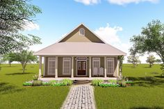 This lovely Bungalow style home with Cottage influences (House Plan has 1351 square feet of living space. The 1 story floor plan includes 2 bedrooms. 2 Bedroom House Plans, Cottage Style House Plans, Southern House Plans, Bungalow House Plans, Cottage House Plans, Country House Plans, Small House Plans, Cottage Homes, House Floor Plans