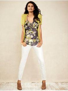 Love this look. Banana Republic tank, cardigan & skinny jeans.