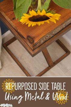 I made this repurposed metal and wood side table out of a thrift store find for under ten dollars. Repurposing or upcycling a dated metal side table into a contemporary piece of furniture was easy. Furniture Update, Simple Furniture, Paint Furniture, Furniture Makeover, Furniture Projects, Wood And Metal Table, Metal Side Table, Salvaged Furniture, Furniture Restoration