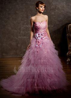 Ball-Gown Sweetheart Court Train Taffeta Tulle Wedding Dress With Ruffle Flower(s)