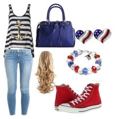 """""""4th of july"""" by magy662520 ❤ liked on Polyvore featuring Converse, Frame Denim and Urban Expressions"""