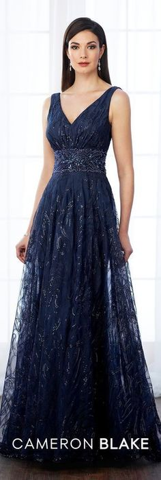 Formal Evening Gowns by Mon Cheri - Fall 2017 - Style No 217645 - navy blue sleeveless sequin and tulle V-neckline evening dress Change to wine for Kaylia's wedding Mob Dresses, Homecoming Dresses, Bridesmaid Dresses, Bride Dresses, Beautiful Gowns, Beautiful Outfits, Vestidos Mob, A Line Gown, Groom Dress