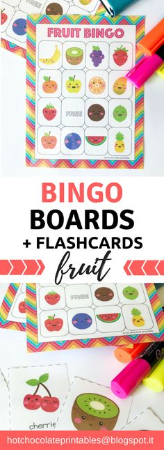 Fruit Bingo Cards + Matching Flashcard Set. Practice and review vocabulary with this great game! Kids love bingo!