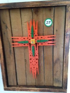 Clothespin Cross Orange and Green with Saint by Recycled2Art