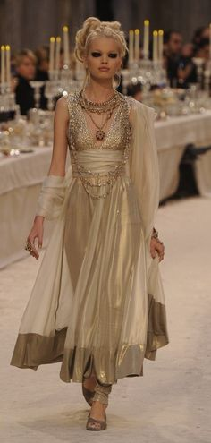 Chanel Bombain | pre-fall 2012 Greek's Hellenistic Chiton Softly flowing and belted under the bust
