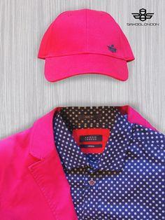 #saxoolondon #menswear #red #blue #dotty #cap #shirt #suit