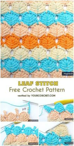 Leaf Stitch Free Crochet Pattern This beautiful leaf stitch creates open and warm textured fabric. It will be nice as a summer wrap or a blanket. Crochet C2c, Stitch Crochet, Crochet Stitches Free, Crochet Motifs, Crochet Blanket Patterns, Crochet Gifts, Easy Crochet, Free Crochet, Stitch Patterns