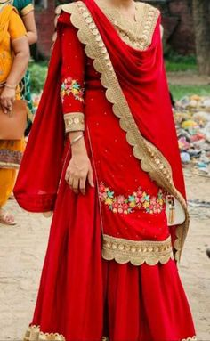 Bridal Suits Punjabi, Punjabi Suits Party Wear, Embroidery Suits Punjabi, Embroidery Suits Design, Embroidery Stitches, Punjabi Suits Designer Boutique, Indian Designer Suits, Red Dress Outfit, The Dress