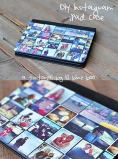 "How to make an iPad cover (customized with your own Instagram photos): DIY tutorial by Ashley Hackshaw of ""lil blue boo"". This beautifully detailed tutorial shows how to make this thoughtful gift. Why pay a fortune for a factory-made version, and then wait for it to be shipped to you? Best of all, this one only costs about $20 to make."