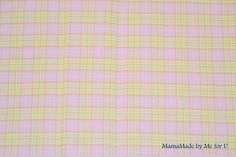 Tissu 100% coton carreau façon écossais rose et jaune : Tissus Habillement, Déco par mamamade