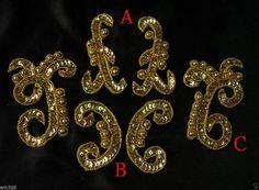 LR166 Miroir Paire Sequin Beaded Applique GOLD MIX 3 Paires ~ Dancewear ~ Designer ~