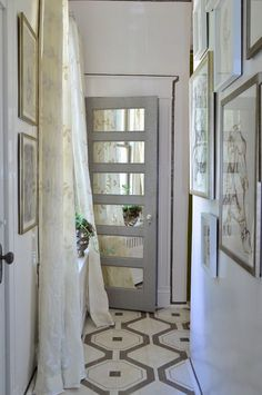 Painted floors, mirrored door,  Oh good, I have a door like that in my basement, another progect!.