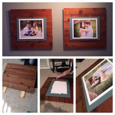 DIY wood picture frames for our living room! You could also use pallets for the wood.  What we did: 1) bought stained wood from Home Depot. Ours were 6' boards cut in half. Screw all wood together using 2 vertical pieces in the back.  2) paint foam board for matte desired color and nail into board. (In the middle) 3) hang a picture frame in the middle of the matte  Decor decorating wall