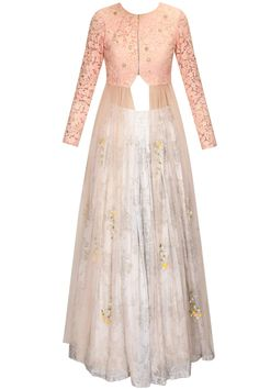 Pink rose embroidered jacket lehenga set available only at Pernia's Pop Up Shop.