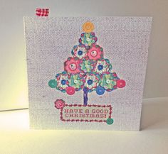 SALE!Christmas Cards Pk of 5,'Buttons&Baubles' Hand Finished Xmas Cards £2.00