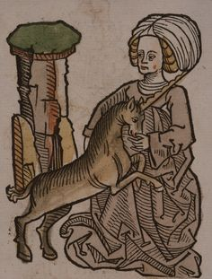 Illustration from Hortus sanitatis (Mainz, 1491) of a virgin and a unicorn