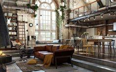 Loft, mezzanine, industrial chic and steampunk.