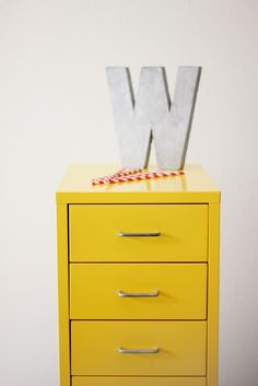 gorgeous yellow drawers by eat sleep cuddle.paint an ugly file cabinet.need this for my files. Yellow Drawers, Painted File Cabinets, Yellow Cabinets, Retro Home Decor, Wall Ideas, Decor Ideas, Craft Ideas, Space Crafts, Cozy Living