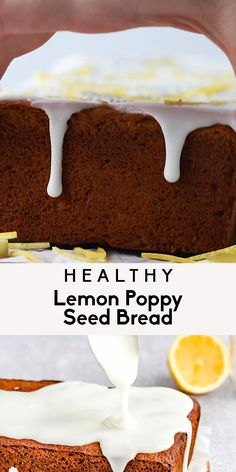 Amazing healthy lemon poppy seed bread made with a mix of oat and almond flour and naturally sweetened with honey. This easy gluten free lemon poppy seed bread has a boost of protein from greek yogurt and is made in one bowl for an easy, healthy breakfast or snack! #bread #lemonpoppyseed #lemon #baking #breakfast #snack #glutenfree #greekyogurt #brunch