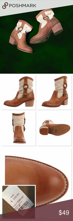 """Lucky brand boxer booties Gorgeous leather and fabric upper and rubber bottoms. Contrast in color - brown Santiago - has side strap with buckle. Heel is about 2"""" Lucky Brand Shoes Ankle Boots & Booties"""