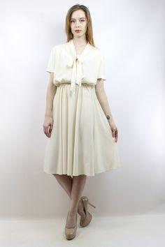 Ascot Dress Cream Dress Day Dress Secretary Dress by shopEBV