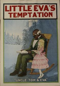 """Original 1920's Vaudeville Poster """"Little Eva's Temptation"""" a musical burlesque written by Henrique Vivian Messett was a Farce Comedy Suggested by Uncle Tom's Cabin. 20""""X 28"""" 2 piece poster by D.L.C.O.  New Port KY. This poster was originally titled """"Uncle Tom's Cabin"""". That title was removed (presumably because of legal action) and """"Little Eva's Temptation"""" was attached to the top of the poster. Excellent condition. $595"""