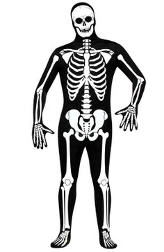Designed Skeleton Awesome costume suits that can be used for a long list of costumes! Body suits have an attached head covering and close with a zipper in back of suit. Head covering can be tucked into suit if you wish to leave head uncovered. Material is very stretchy. #zentai #costume