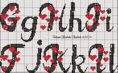 Monograma de coração para desejar a todas vocês um ótimo fim de semana.    Beijos!!! Cross Stitch Letter Patterns, Cross Stitch Letters, Cross Stitch Boards, Cross Stitch Heart, Cross Stitch Designs, Cross Stitching, Cross Stitch Embroidery, Letras Abcd, Plastic Canvas Letters