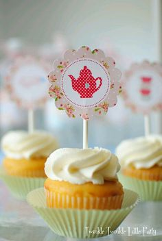 Shabby chic Printable cupcake topper