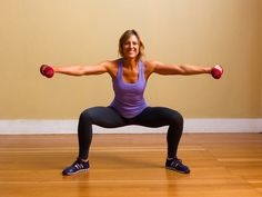 Maybe squats aren't your favorite exercise, but they sure help to strengthen and tone your quads, hamstrings, glutes, and lower back. Using a set of dumbbells will not only strengthen your tush but your arms as well!  Stand with your legs wide and your toes pointed outward slightly. Hold a pair of dumbbells in your hands with your arms straight and your palms facing down. Bend your knees until they are over your ankles while raising your arms to just below shoulder height. ...