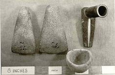Polished stone axe heads, steatite pipe, ceramic bowl, Virginia Indian, Late Woodland Period