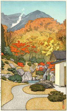 Yoshida Toshi JAPANESE Woodblock Print SHIN HANGA - Autumn in Hakone Museum  #YoshidaStadio