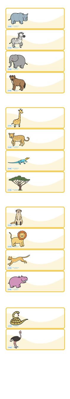 Twinkl Resources >> Editable Peg Drawer Labels Safari Animals   >> Thousands of printable primary teaching resources for EYFS, KS1, KS2 and beyond! safari animals, label templates, resource labels, coat peg labels, KS1 labels, name labels,
