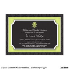 Elegant Damask Dinner Party Invitation (lime)