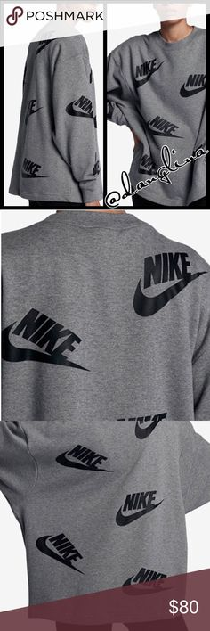 Futura Nike logo sweater Brand new with tags Authentic  Please know your sizing in Nike products before purchase French terry fabric Full length sleeves  Dropped shoulder seams Crew neck Ribbed cuffs Cotton/polyester  Grey with black nike logos Relaxed fit So comfortable  ✨Available In black and matching leggings on separate listings✨ 🛑Price is firm on all Nike products🛑 Nike Sweaters Crew & Scoop Necks