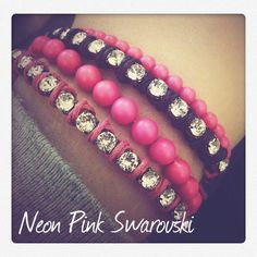 Swarovski Neon Pearls and Crystal bracelets from I-Beads!