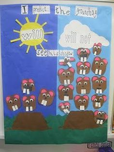 Groundhog Day prediction graph. I love the little groundhogs that the kids made here!