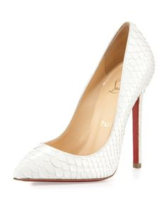Pigalle Python Point-Toe Red Sole Pump, White by Christian Louboutin at Neiman Marcus.