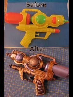 Steampunk gun made from cheap water gun. @Elizabeth Lockhart Lockhart Lockhart Lockhart Bowen