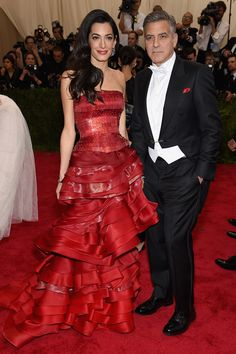 Amal and George Clooney, wearing Maison Margiela | Met Gala 2015 red carpet pictures | Met Ball fashion - Costume Institute Gala | Harper's Bazaar