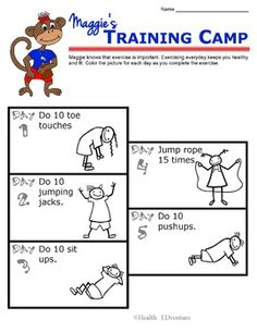 """This activity encourages students to """"get up and get moving."""" Students complete a challenge exercise each day for 5 days to complete the exercise training camp.Find over 330 learning activities at the Health EDventure store."""