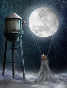 Girl & the Moon as a hot air balloon & boy hanging on to water tower art