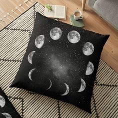 Moon Phase in Black and White Floor Pillow