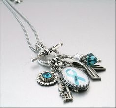 Ovarian Cancer Awareness Charm Necklace by BlackberryDesigns, $58.00