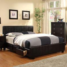 Burlington Contemporary Style Espresso Leatherette Finish Bed Frame Set
