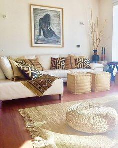 """Ethnic Living at Master Bedroom """"Casa Yemayá"""" VyP, Chile Ethnic Living Room, Ethnic Bedroom, African Bedroom, African Living Rooms, Home Living Room, Living Room Designs, Living Room Decor, Bedroom Decor, Master Bedroom"""