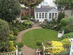 A view of the Summerhouse from one upstairs window. Mr Mcgregor, Cottage Garden Design, Garden Studio, Bliss, Garden Ideas, Sidewalk, Windows, Mansions, House Styles