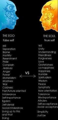 Ego vs. Soul. Try your best to always rise above your ego and live from your soul.